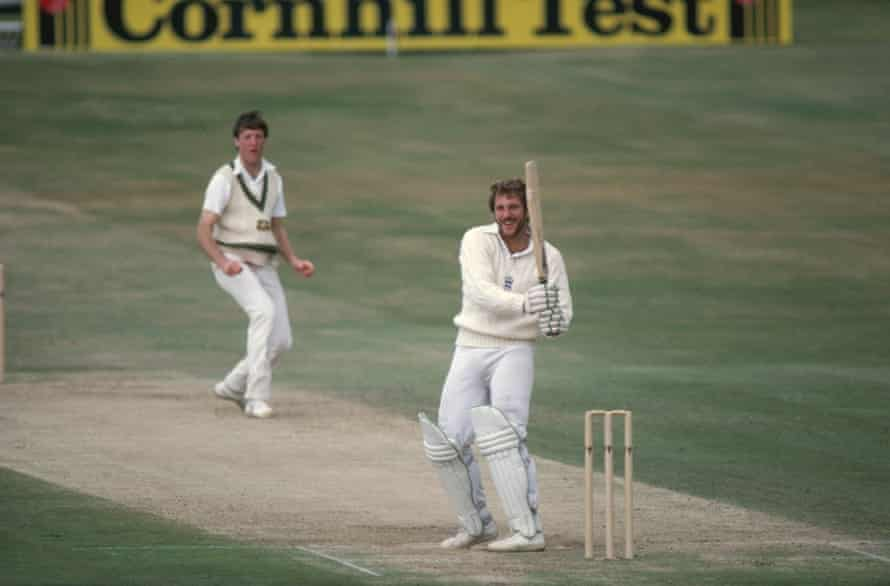 Ian Botham hooks Australia's Geoff Lawson for four during the third Ashes Test at Headingley in 1981.