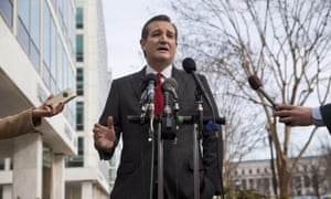 Republican presidential candidate Ted Cruz speaks to the media about events in Brussels.