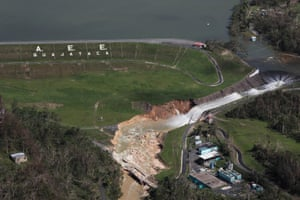 An aerial view shows damage to the Guajataca dam