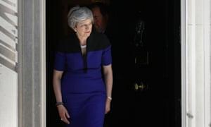 Prime Minister Theresa May exiting No10 Downing Street