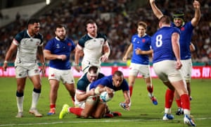 Gaël Fickou dives over to score France's third try and ease their nerves after the USA had fought back to 12-9 in the Pool C game in Fukuoka.