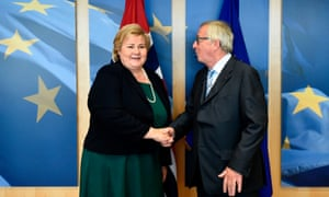 Jean-Claude Juncker, president of the European Commission, welcomes prime minister of Norway Erna Solberg at the EU headquarters in Brussels.