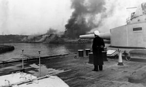 The Schleswig-Holstein bombards the ammunition dump on the Westerplatte on 1 September 1939