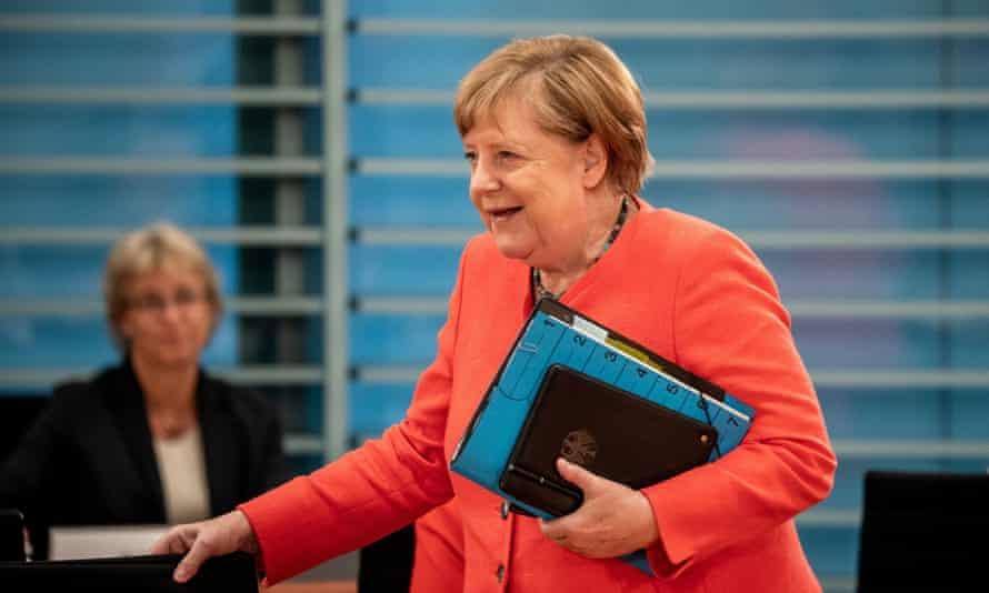 Angela Merkel at her weekly cabinet meeting in Berlin