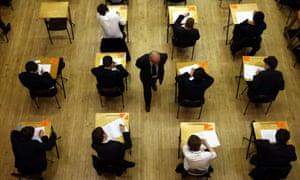 GCSE pupils sit an exam