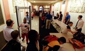 Students pass through metal detectors on their way into school in Albany, New York.