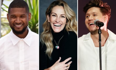 Composite image featuring Usher, Julia Roberts and Niall Horan