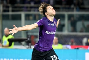 Federico Chiesa celebrates after scoring.