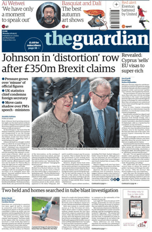 Guardian front page, Monday 18 September 2017.