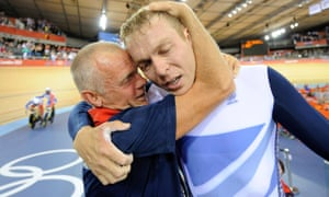 Sutton in happier times congratulating Chris Hoy on 2012 Olympic gold.
