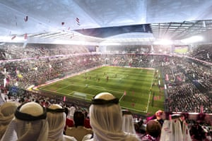 A rendered look at Al Rayyan stadium.