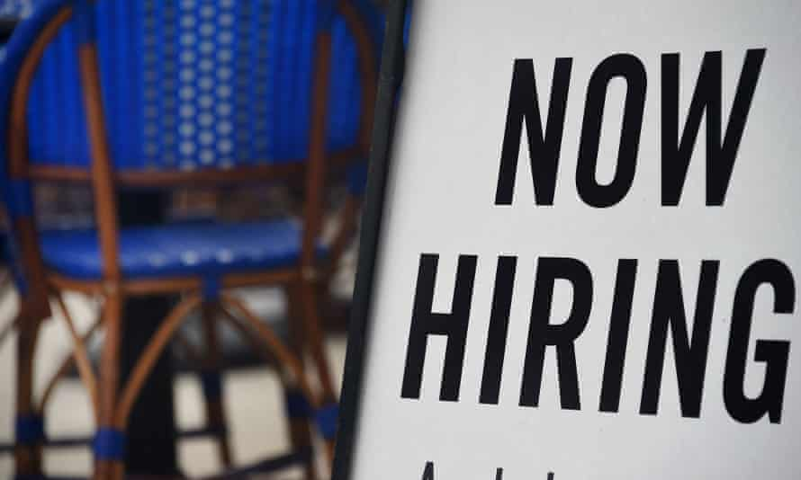 A restaurant displays a sign advertising for job applicants amid the coronavirus pandemic.