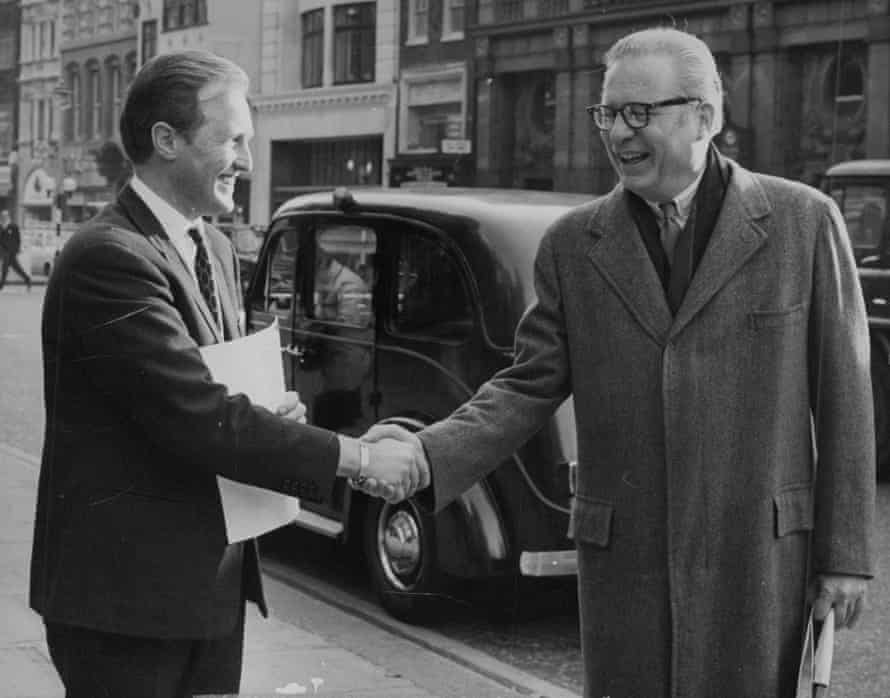 A spy, and something of a wag … Miles Copeland Jr (right) in 1970 with Winston S. Churchill MP.