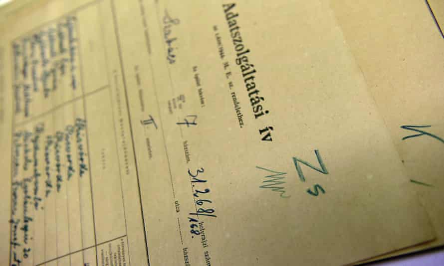 A document dating from 1944 that is part of around 6,300 census forms of Budapest's then Jewish population