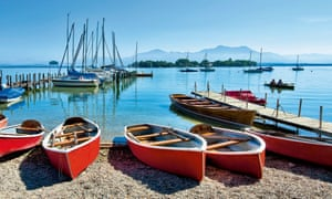 Rowing boats wait for visitors to explore the islands of Chiemsee
