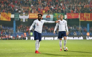 Danny Rose and Ross Barkley during the match in Montenegro where England's black players were targeted with monkey chants.