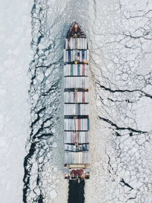 A ship plowing through ice in the Gulf of Finland