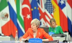 Theresa May speaks on the second day of the G20 summit in Buenos Aires.