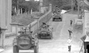 Armoured cars on patrol near near Newry, County Armagh, Northern Ireland, 1971.
