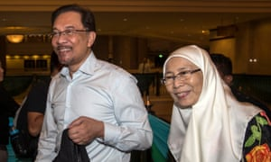Anwar Ibrahim pictured with his wife, Wan Azizah, in 2014