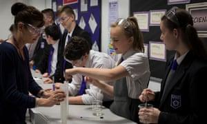Pupils at Kirkby high school, Merseyside