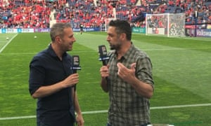 Max Rushden (left) and Ned Zelic working pitchside for Australian TV network Optus at the Nations League finals in Portugal.