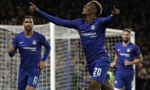 Chelsea's Callum Hudson-Odoi celebrates after scoring his team's third goal against PAOK.