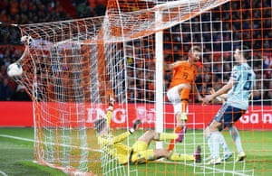 De Jong of Netherlands scores his sides second goal.