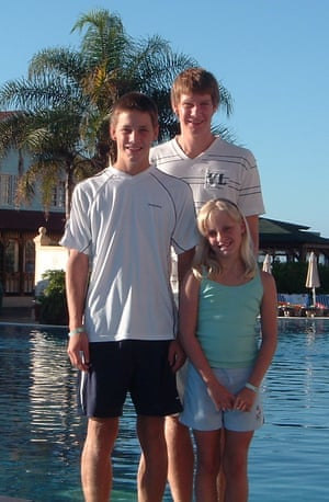 Ryan (on left), Luke and Charlotte Hart on holiday in Tenerife, in 2006. Charlotte was killed by her father in July 2016