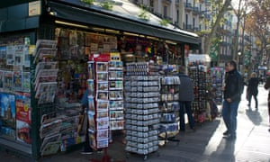 La Rambla's news kiosks have diversified into tourist trinkets, but elsewhere in the city advertising space has bolstered income as newspaper sales fall.