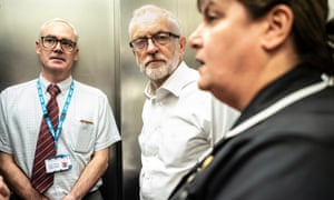 Jeremy Corbyn (centre) during a visit to Crawley Hospital.