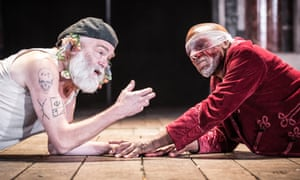 Catches Lear's contradictions … Kevin R McNally as Lear and Burt Caesar as Gloucester in King Lear at Shakespeare's Globe, London