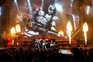 Eric Singer, Paul Stanley and Tommy Thayer of KISS perform at the Riverbend Music Center in Cincinnati