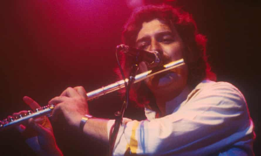 Ray Thomas performing with the Moody Blues at the Wembley arena, London, in 1978.