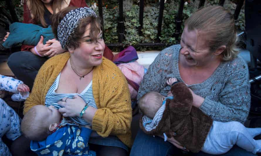 Women stage a pro-breastfeeding protest in central London