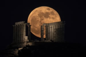 The ancient Greek temple of Poseidon at Cape Sounion, south of Athens.