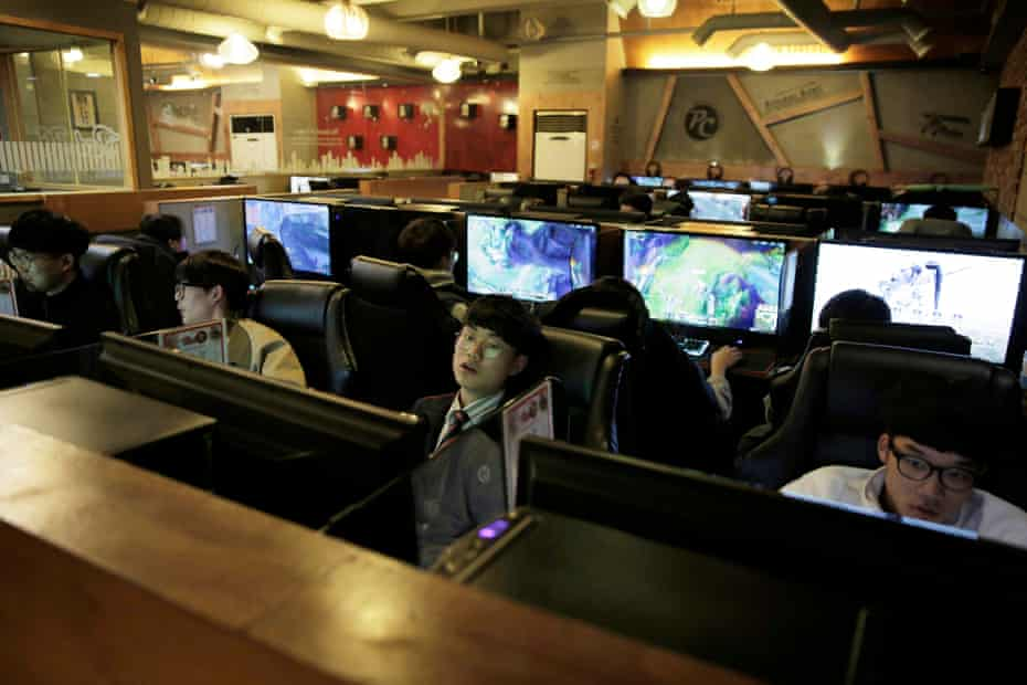 Young male gamers in a PC bang in the Hongdae area of Seoul in March 2017.