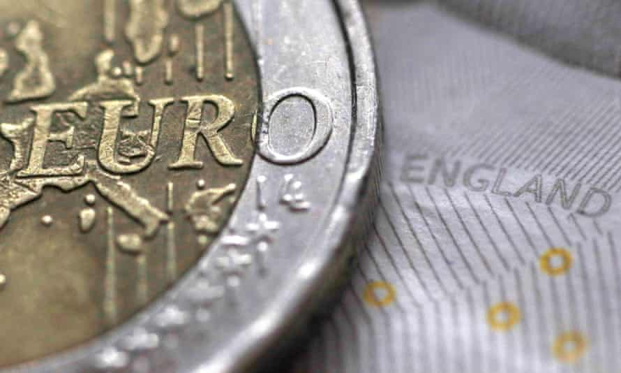 A euro coin and a sterling note