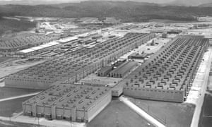 Aerial view of the K-25 plant, Oak Ridge, ca. 1945. The K-25 plant was built for the enrichment of uranium through gaseous diffusion, in which gaseous U-235 was separated from U-238 through an incredibly fine mesh. When completed, K-25 was the largest building in the world under one roof.