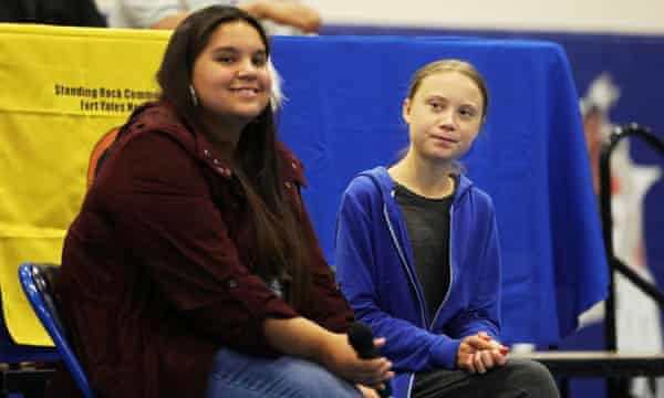 Tokata Iron Eyes with Greta Thunberg at a youth panel at the Standing Rock Indian Reservation, North Dakota in 2019.