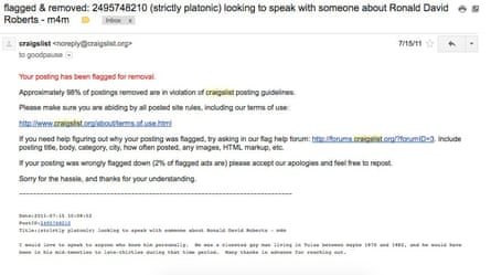 A Craiglist ad removed from the site.