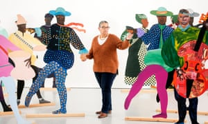 Lubaina Himid with her signature cut-out artworks, representing African slaves in 18th-century royal European courts.