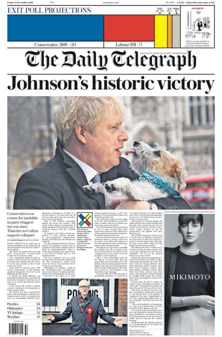 Telegraph final edition, Friday 13 December 2019