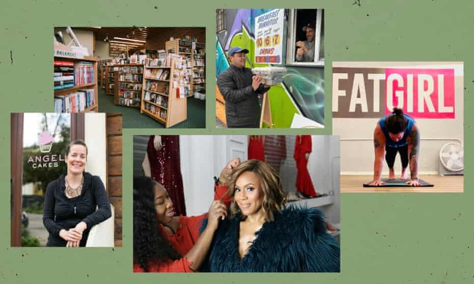 Clockwise from top left: Jan's Paperbacks, Guerrilla Tacos, Fat Girl Yoga, Stylist Lee Hair Studio, Angel Cakes.