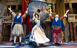 Angus Imrie (Ned Spiggett), Gugu Mbatha-Raw (Nell Gwynn) and Amanda Lawrence (Nancy) in Nell Gwynn by Jessica Swale @ Shakespeare's Globe. Directed by Christopher Luscombe. (Opening 24-09-15)