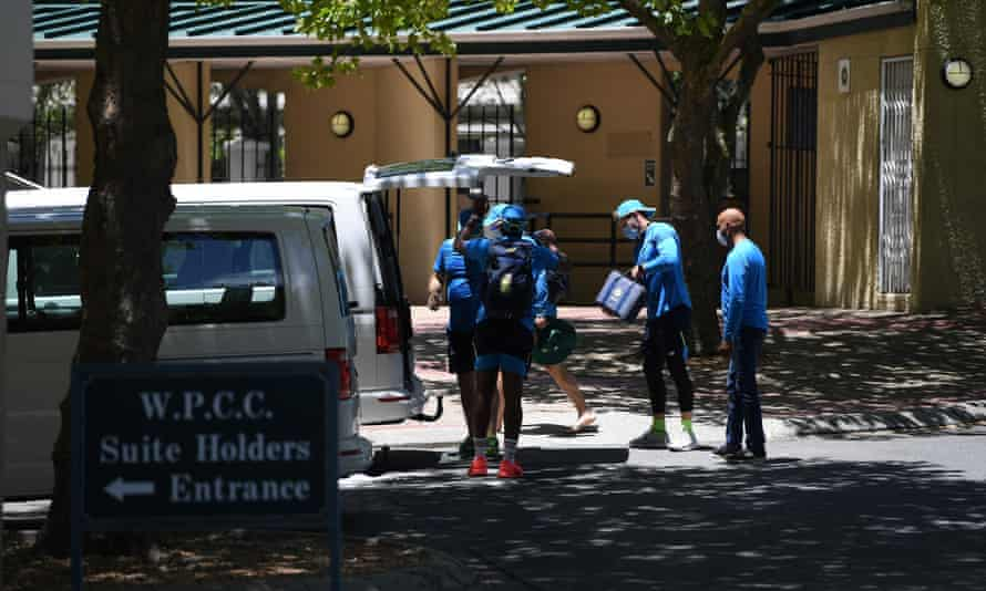 South African backroom staff pack up after the postponement of the first ODI at Newlands