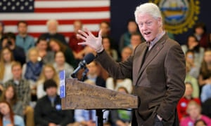 Bill Clinton campaigning for his wife Hillary Clinton at Nashua Community College in New Hampshire.