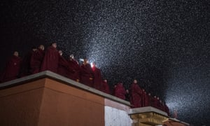 Tibetan Buddhist monks chant during the Monlam Great Prayer festival at Labrang Monastery in Xiahe County