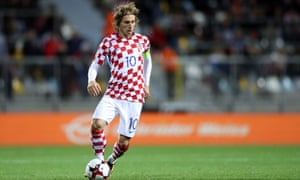 Luka Modric in action for Croatia against Finland in World Cup qualifying.