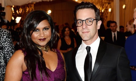 With co-star Mindy Kaling.